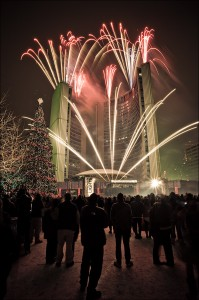 Cavalcade of Lights fireworks on City Hall at Nathan Phillips Square by The Circus Orange Pyro Team.