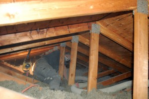 Thermal Craft Insulation Installer at work in attic